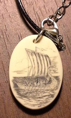Scrimshaw Viking Ship Necklace on 18 faux leather by Andrew Perkins, On Etsy.