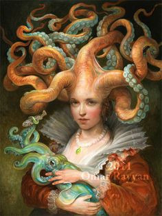 Contessa with Squid (extra large print) fantasy art octopus woman. @Jilynn Parmly Parmly Parmly Parmly Parmly Parmly Parmly Parmly