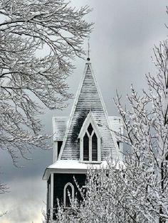 snow covered church...