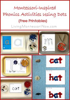 Ideas for Montessori-inspired phonics activities using wooden dots and free printables