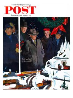 """Christmas Train Set"" Saturday Evening Post Cover, December 15, 1956 Giclee Print by George Hughes at Art.com"