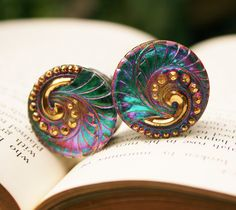 """7/8 Plugs color change gauges glass plugs for gauged ears size 7/8"""" 22mm. $68.00, via Etsy."""