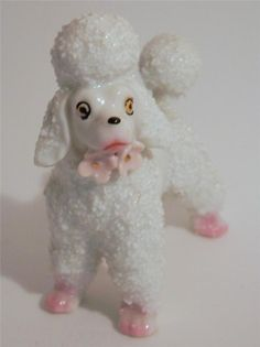 Vintage 1950's White Spaghetti Poodle Figurine Pale Pink Flower Bow Tie