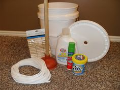 CLOTHES WASHING KIT        5-gallon bucket with lid (cut hole in middle of lid for plunger handle to fit through)      Toilet plunger (brand-new, clean)      Store in bucket:      Liquid laundry detergent      Stain remover/stain stick      Vinegar (add 1/2 cup to rinse water) helps remove soap      Rope (for clothes line)      Clothes pins