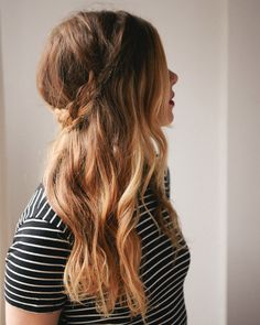 half-up braided crown.