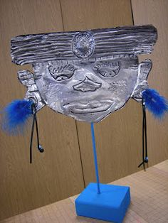 Artolazzi blog: Inca masks made with embossing metal foil