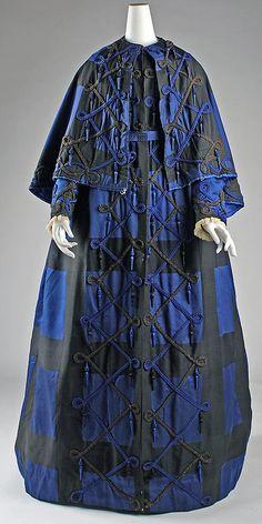 Silk Dress-wrapper? 1860s American Dimensions: Length at CB (a): 63 in. Length at CB (b): 23 in. Length c) 76 in.
