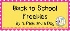 2 EXCELLENT Back to School Freebies from 2 Peas and a Dog