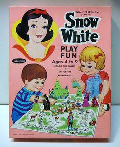 Vintage 1967 Disney Snow White Seven Dwarfs Whitman Punchout Play Set Paper Doll Game Original Box