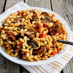 Italian Sausage and White Beans dinner, beaches, italian sausag, kalyn kitchen, fast metabolism diet, white bean, silver spoons, diet phase, south beach diet