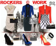 """Rockers At Work""   Just because you work in a office doesn't mean you cant still sport your Rocker edge that make you you. These are a few looks that mix rock classics like leather and studs with classic blazers and classic shapes together in a Business Chic way. (Gwen's Style)"