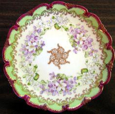 Decorative Dishes - Green Fuschia Purple Violets Gold Accented Scalloped Edge Plate, $29.99 (http://www.decorativedishes.net/green-fuschia-purple-violets-gold-accented-scalloped-edge-plate/) printabl mini, miniatur china, violet gold, purpl violet, decor dish, gold accent, fuschia purpl, edg plate, china closet