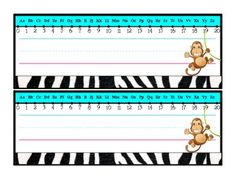 Here is a freebie for you! Desk plates with the alphabet, number line, and lines for the students names.Four with animal clipart and one blank....