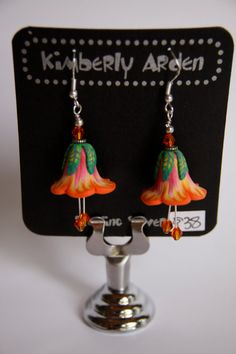 Polymer Clay orange yellow and pink flower Earrings w/ Swarovski Crystals