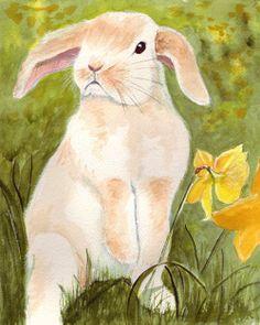 Bunny's Artwork: Floppy Eared Rabbit Watercolor Painting