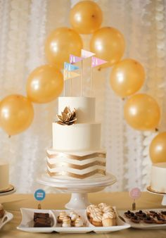Gold Chevron Cake // via 100 Layer Cake - Avery House Photography
