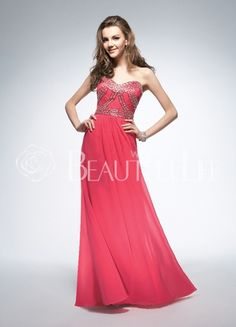 Red Sweetheart Natural Floor-length Chiffon Prom Dress With Beading