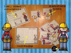 Mr. and Mrs. Fix It Missing Addends math work station