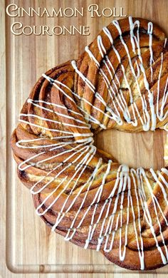 "Cinnamon Roll Couronne - Wouldn't this make a gorgeous centerpiece for your Easter breakfast table? This ""crown"" loaf makes a very beautiful presentation of what is essentially just a log of cinnamon roll dough cut down the middle and simply twisted to create the stunning pattern; a delicious and impressive addition to any weekend brunch."