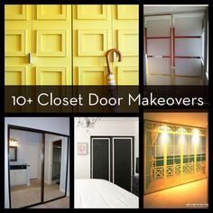 Roundup: 10  Easy and DIYable Closet Door Makeovers... Need this for my ugly bronze on mirrored doors in master bedroom