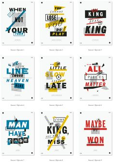 """Oliver Munday's """"The Wire Poster Project"""" features 60 typographic posters, one each for the 60 different epigrams shown at the start of ever..."""