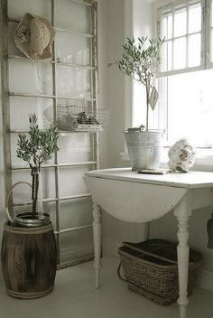 old window frames, idea, cottag, old windows, french country