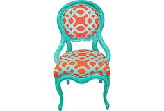 Chair w/ Lilly Pulitzer Print on OneKingsLane.com - $525.00 - 1960s vintage occasional chair; painted glossy teal; front upholstered in Lilly Pulitzer geometric print; back upholstered in a white and teal stripe print