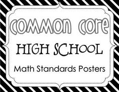 Common Core High School Math Standards Posters {Black and White} $