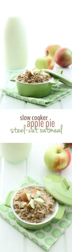 Slow-Cooker Apple Pie Steel-Cut Oatmeal - an easy breakfast made from ...