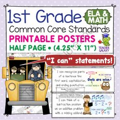 First Grade Common Core Standards Posters I Can Statements - Math & ELA from Teacher Galaxy on TeachersNotebook.com -  (105 pages)  - First Grade Common Core Standards Posters I Can Statements - Math & ELA