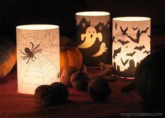 Halloween Printables. Also can print on orange vellum. No need for buying candle for each season
