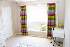diy black out curtains- had no idea they sold the fabric at joanns!  and love the bench seat too!