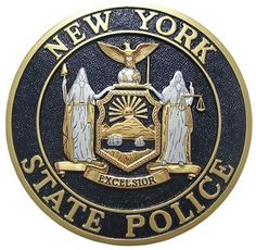 New York State Police Plaque made of hand carved mahogany wood  #militaryplaques see more plaques at MilitaryPlaques.com