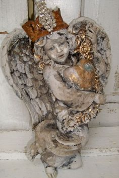 Angel statue wall decor with hand made crown by AnitaSperoDesign, $230.00