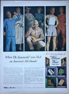 1940s ad Mens Underwear WILSON BROTHERS WW II
