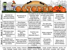 WRITE, WRITE, WRITE!!! October and Halloween Writing Prompt Calendar ~ {Based On Common Core Standards} ~ An October writing calendar with 20 writing prompts ~ Five writing journal covers to choose from ~ Writer's checklist for students to remind children what to focus on while writing. ~ A variety of 10 October, Halloween and Autumn writing paper designs, each with two different line types for a total of 20 open writing papers.
