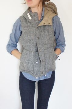 engineered garments | fwk herringbone hooded padded vest