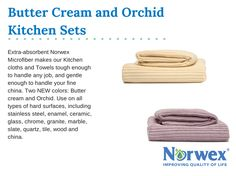 Extra-absorbent Norwex Microfiber makes our cloths and towels tough enough to handle any job, and gentle enough to handle your fine china. Two new colors are now available to complement the latest in kitchen décor. Use on all types of hard surfaces, including stainless steel, enamel, ceramic, glass, chrome, granite, marble, slate, quartz, tile, wood and china.