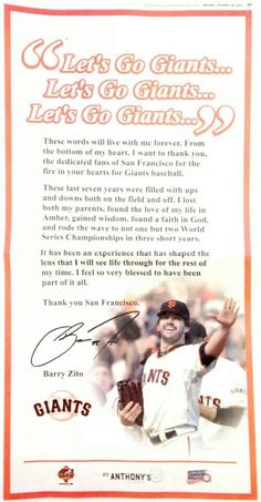 Barry Zito's full page ad in October 14, 2013 San Francisco Chronicle. Sending a Thank You to #SFGiants fans!♥