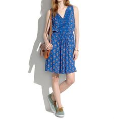 Madewell - Silk Pleated Minidress in Floral Woodcut