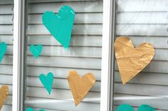 Easy window clings {made using Mod Podge & paint} Tutorial by Amy - Valentine's Day - kid friendly craft.