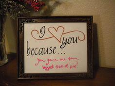 I love you because glass frame dry erase message board. #teampinterest