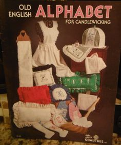 OLD ENGLISH ALPHABET for CANDLEWICKING Needlework Pattern Book - 1983 OOP   #Crabtree #PillowCover