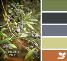 olive hues. grays and orange.