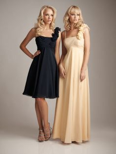 One shoulder chiffon bridesmaid dress with empire waist