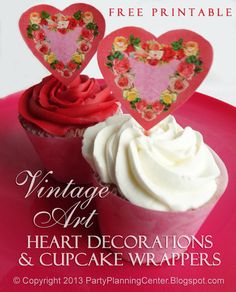 Free Printable Valentine Hearts Cupcake Toppers, Wrappers and Banners