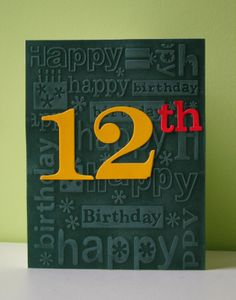 quick and easy birthday card ... inked HB EF, big, graphic numbers for the age, clean & simple
