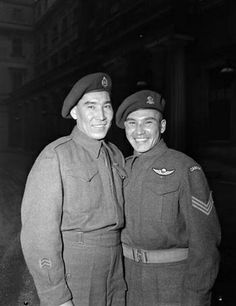 Sergeant Tommy Prince (R), M.M., 1st Canadian Parachute Battalion, with his brother, Private Morris Prince, at an investiture at Buckingham Palace, February 12, 1945. #vintage #WW2 #1940s #Canadians