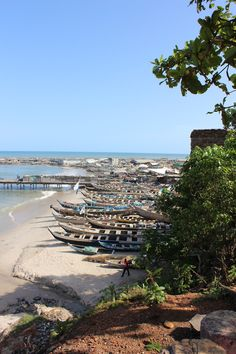 Beach with canoes in Accra, Ghana
