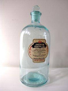 Vintage medicine bottle - American Mineral Oil, Peoples Drug Store